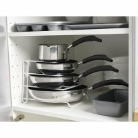 White Pan Pot Lid Rack Stand Holder Kitchen Cupboard ...