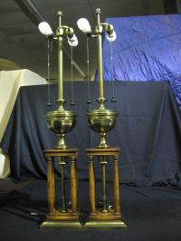 Pair of 1960's Stiffel Wood & Antique Brass Table Lamps 38 ...