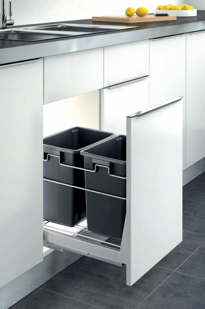 Double Container Kitchen Cabinet Pull Out Trash Can