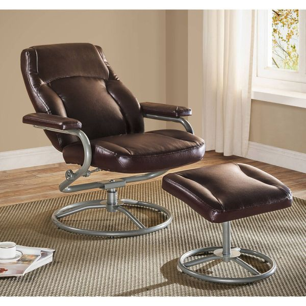 Recliner And Ottoman Set Brown Glider Chair Swivel Footrest Rocker Vinyl Seat