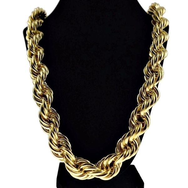 Chunky 20mm 14k Gold Plated Hollow Thick Rope 30