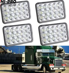 details about 4x led headlights projector lens sealed beam bulb for freightliner fld 120 112 [ 1000 x 1000 Pixel ]