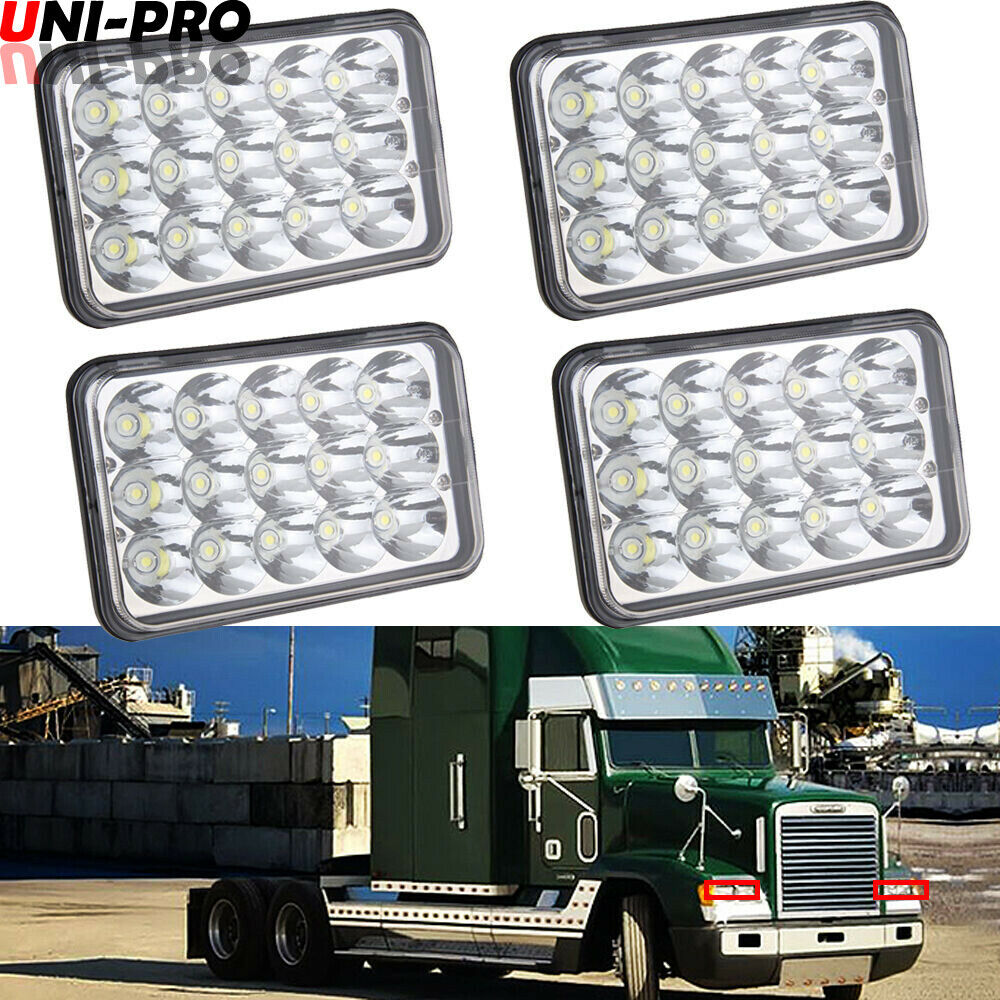 hight resolution of details about 4x led headlights projector lens sealed beam bulb for freightliner fld 120 112