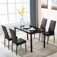 5 Piece Glass Metal Dining Table Furniture Set 4 Chairs ...
