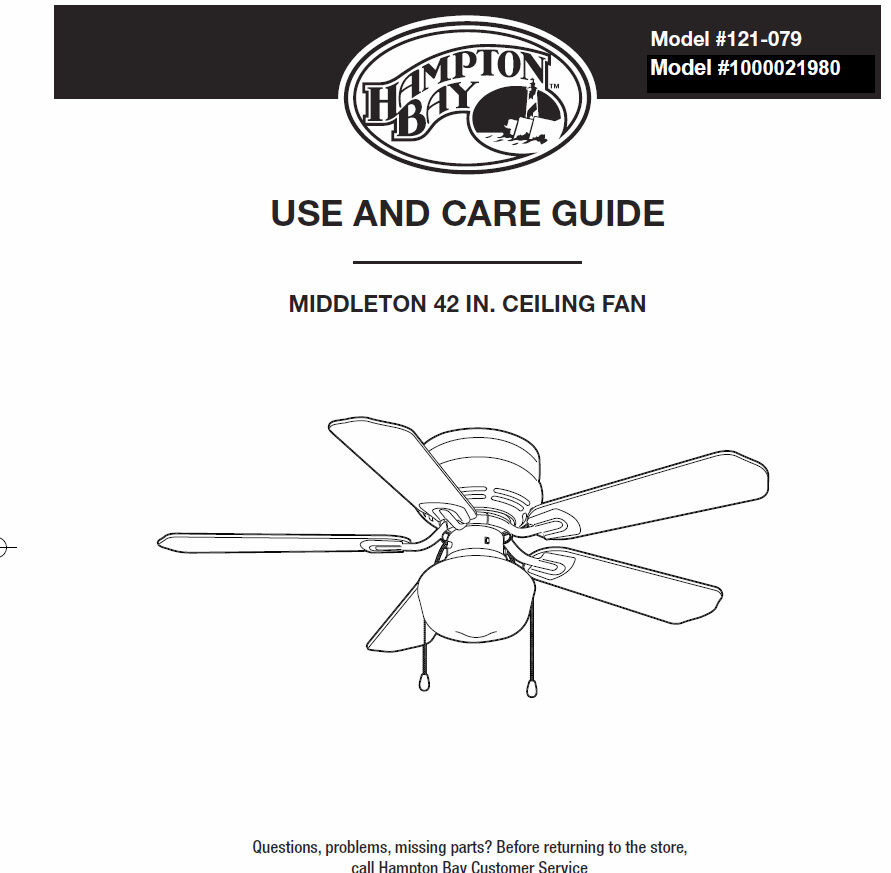 Hampton Bay Ceiling Fans Manual. Note *Manual Only Hampton