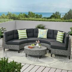 Outdoor Furniture Covers Sectional Sofa La Z Boy Collins Currituck 5 Piece Mixed Black Wicker Set With ...