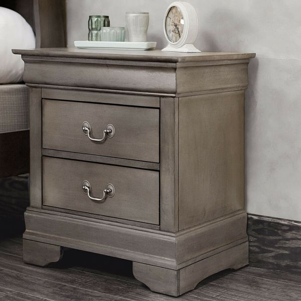2 Drawer Nightstand End Table Bedside Wood Bedroom Furniture Night Stand Gray