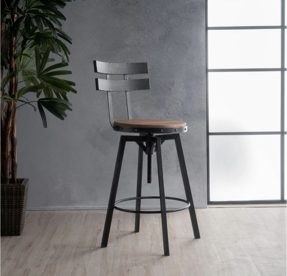 Industrial Metal Bar Stool Adjustable Wood Back Kitchen