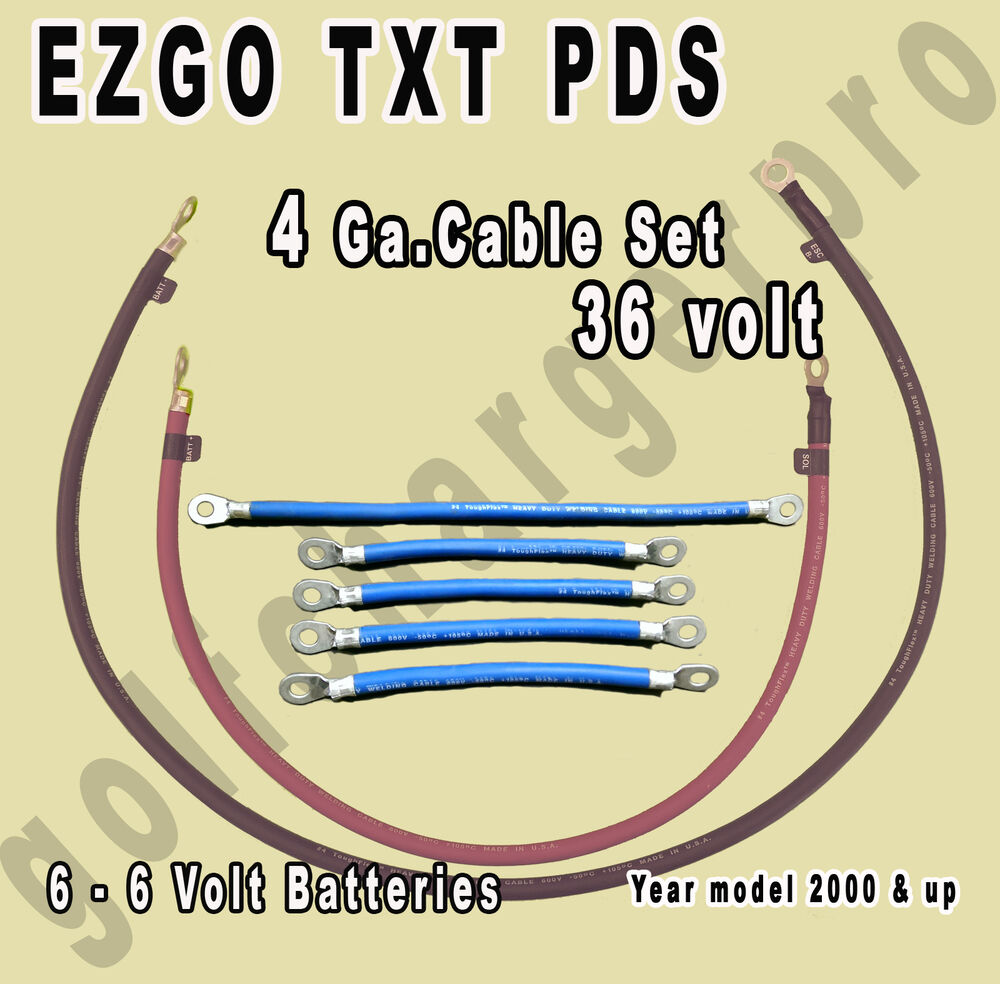 hight resolution of details about ezgo txt pds golf cart 36 volt 4 gauge heavy duty battery cable wiring set