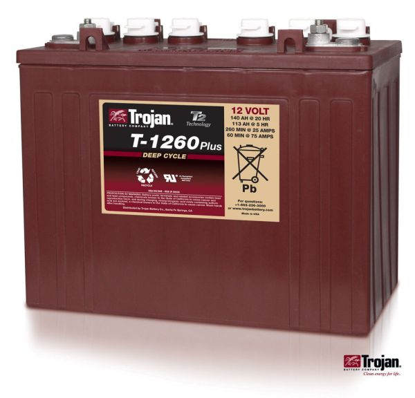 Trojan T-1260 12v 12 Volt Golf Cart Battery Rv Marine Solar Deep Cycle