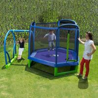 Swing Set Trampoline Outdoor Playground Play Swingset ...