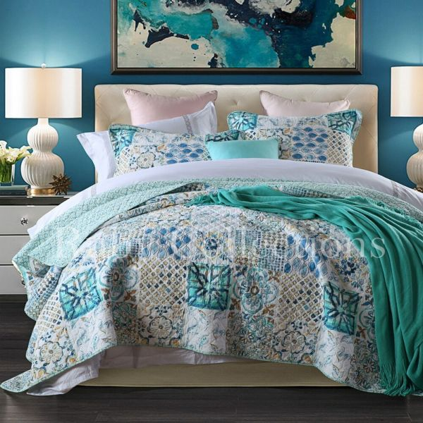 Cotton Quilts King Size Bedspread