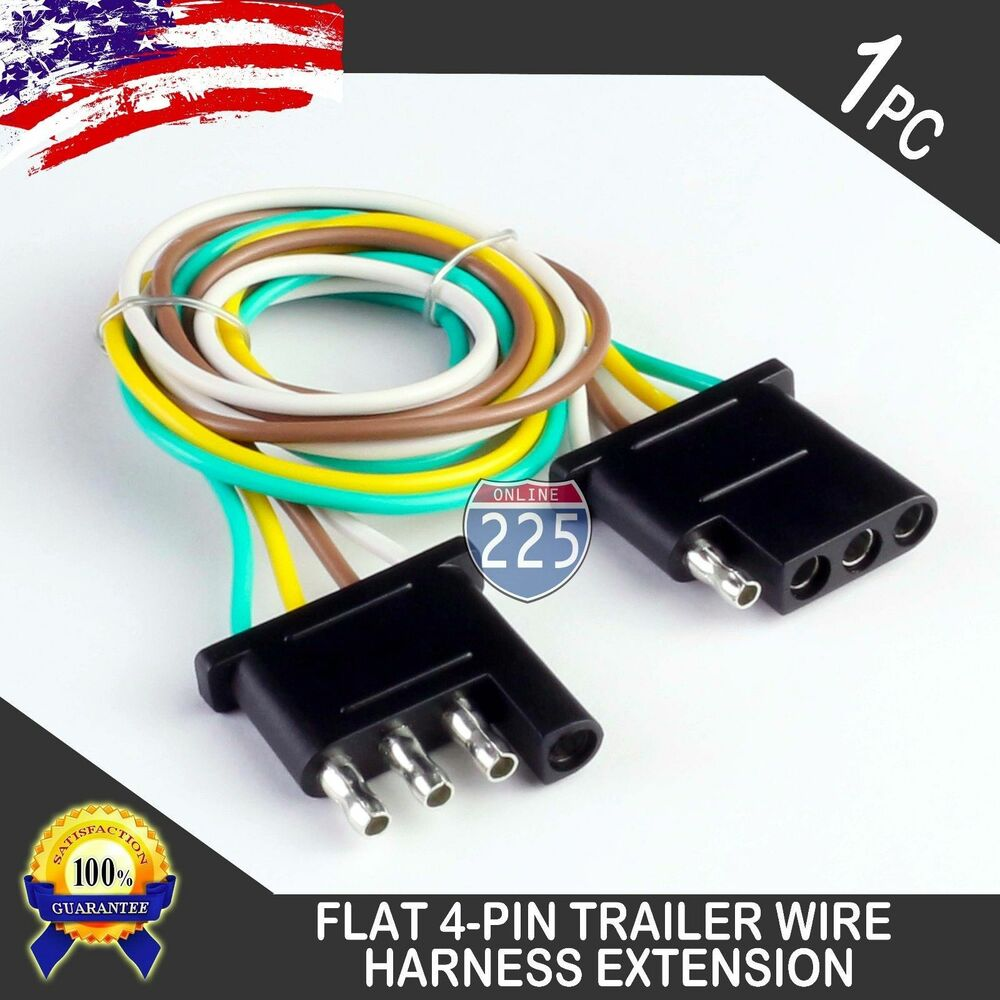 hight resolution of details about 1ft trailer light wiring harness extension 4 pin plug 18 awg flat wire connector