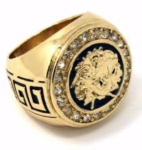 Mens 14K Gold Plated Hip Hop Iced Medusa Face Ring Sizes 7 ...