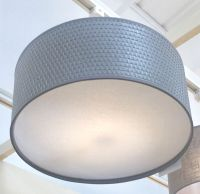 Modern Grey Weave LARGE Drum Cotton Diffuser Ceiling Light ...