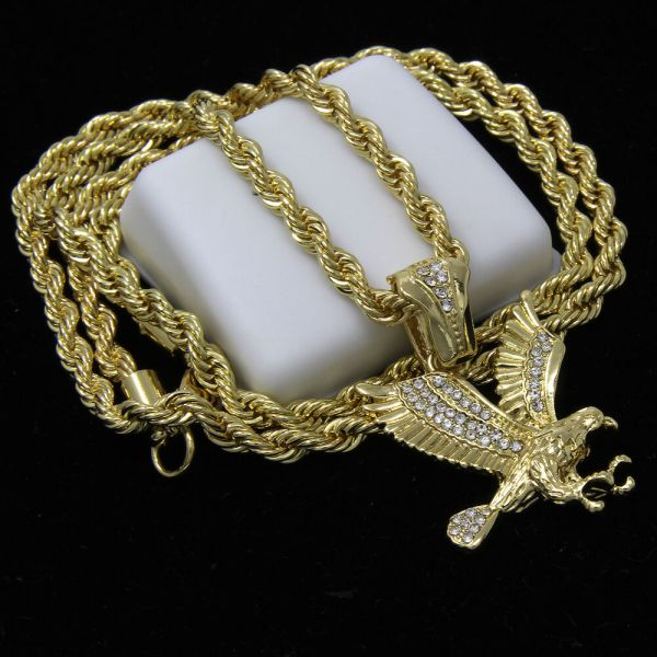 Mens 14k Gold Plated Hip-hop Clawed Eagle Pendant 24