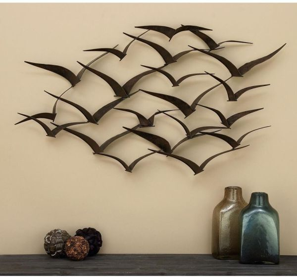 "Bird Flock Wall Sculpture 47"" Hanging Dimensional Art"