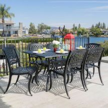 Outdoor 7-piece Cast Aluminum Black Sand Dining Set