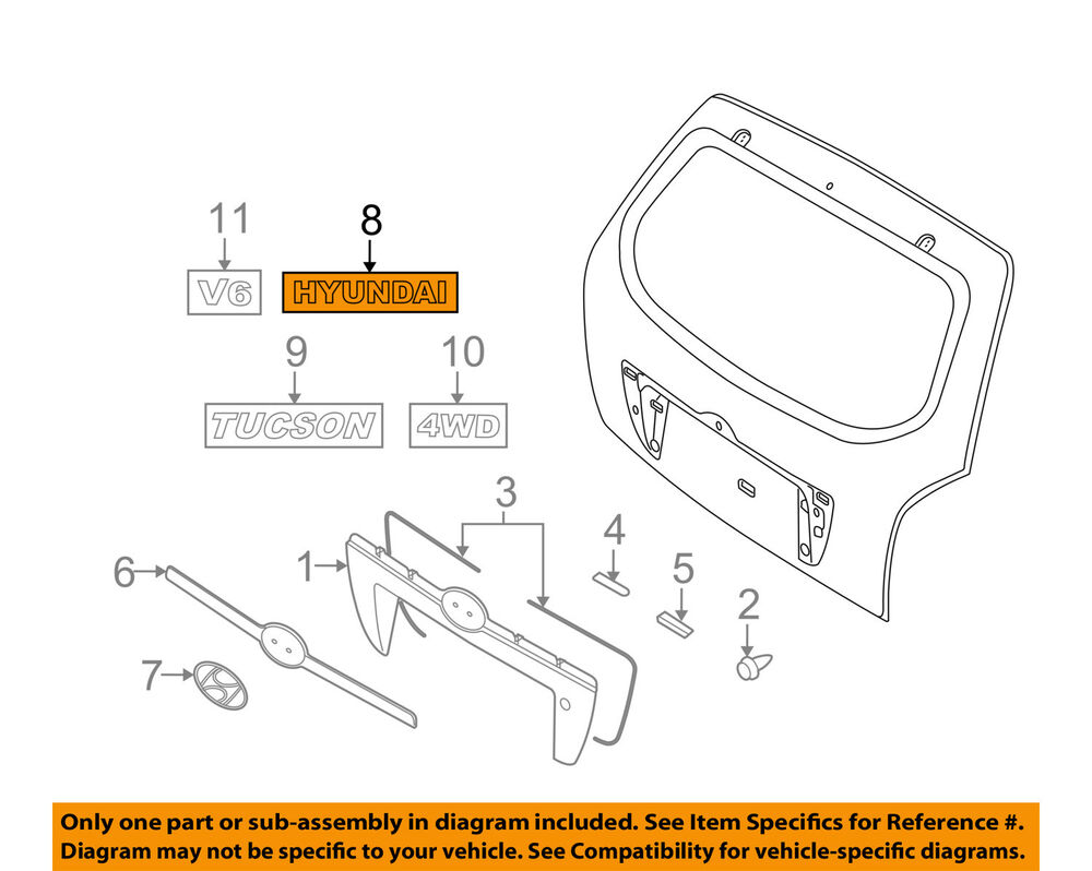 hight resolution of details about hyundai oem 05 09 tucson liftgate tailgate emblem badge nameplate 863102e900