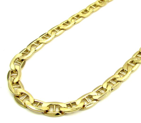 4mm 14k Yellow Gold Concave Mariner Link Chain Necklace 18-24 Inches