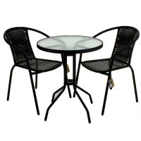 3 PIECE GARDEN PATIO ALL WEATHER BLACK WICKER BISTRO SET ...
