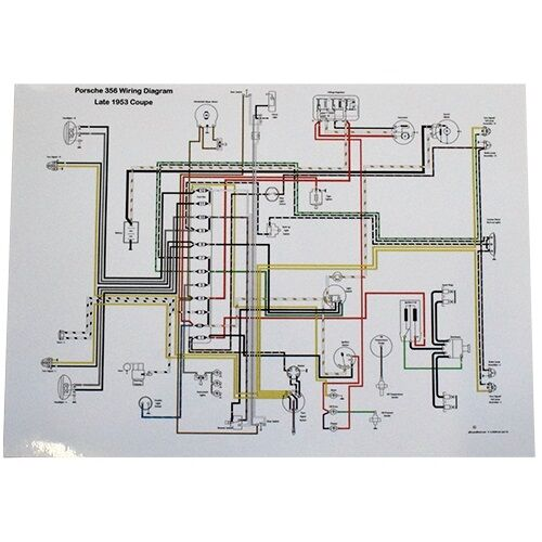 porsche wiring diagram different types of venn diagrams 356 full color late 1953 pre a volt reg ondetails about