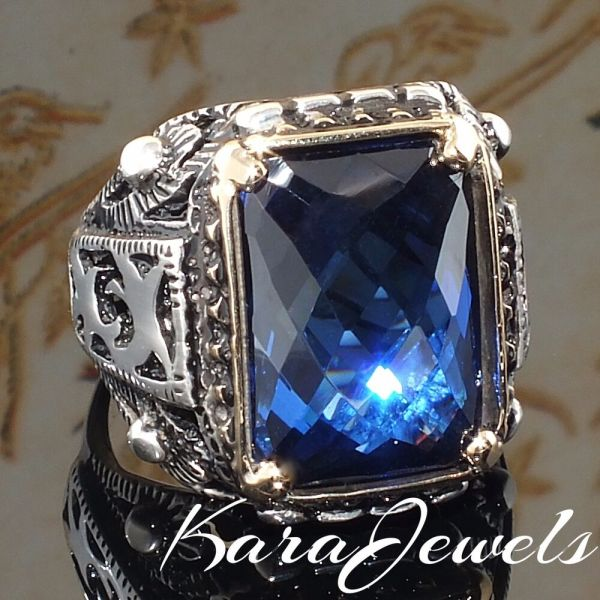 Sterling Silver Mens Ring Blue Sapphire Unique