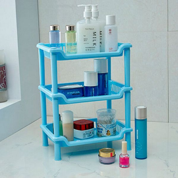 3 Tier Plastic Corner Shelf Storage Unit Bathroom Kitchen