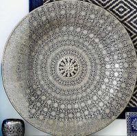 LARGE Antique Silver Colour Metal Filigree Moroccan Plate ...