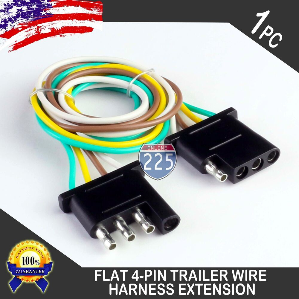 hight resolution of details about 12ft trailer light wiring harness extension 4 pin 18 awg flat wire connector