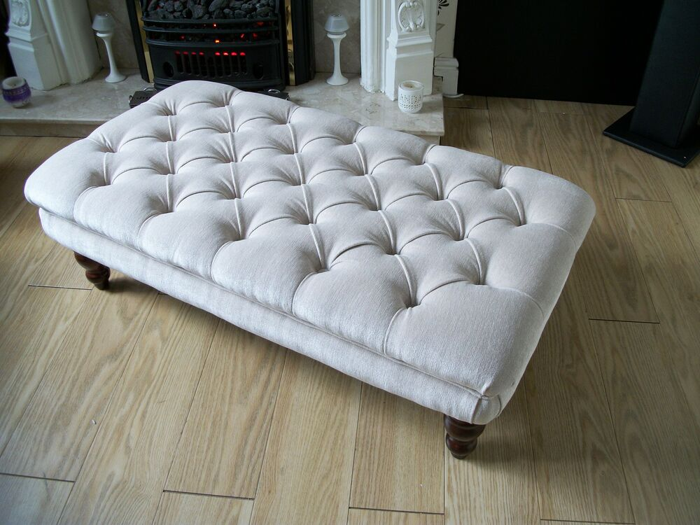 chesterfield sofa material leather sectional with 2 recliners style oxford deep buttoned large footstool ...