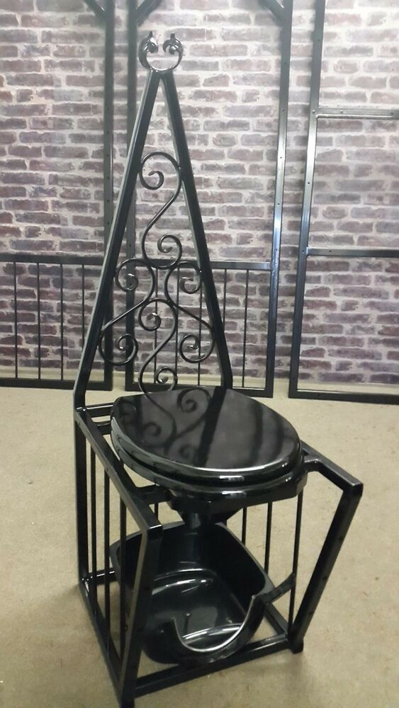 hand crafted deluxe metal queening throne with toilet bowl