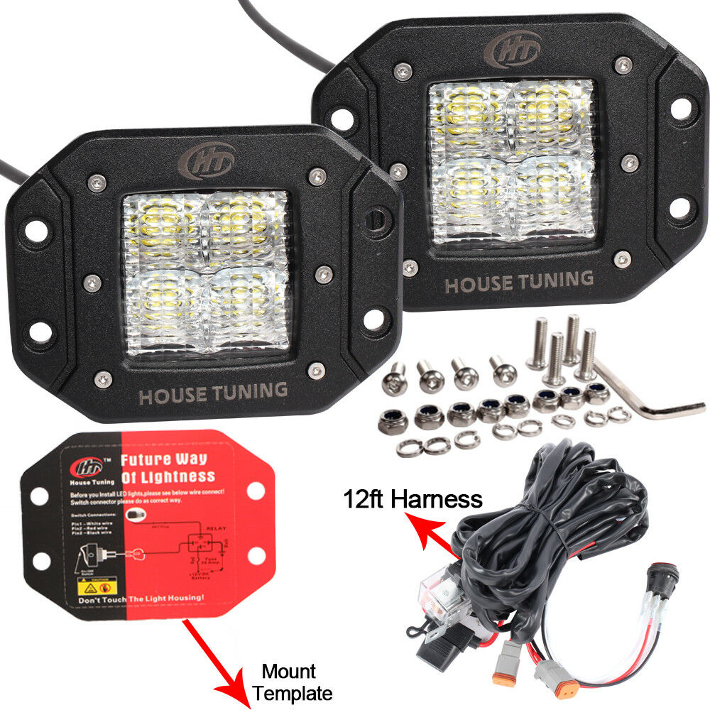 medium resolution of details about house tuning led fog light wiring harness kit 20w dc 12v flood beam for off road