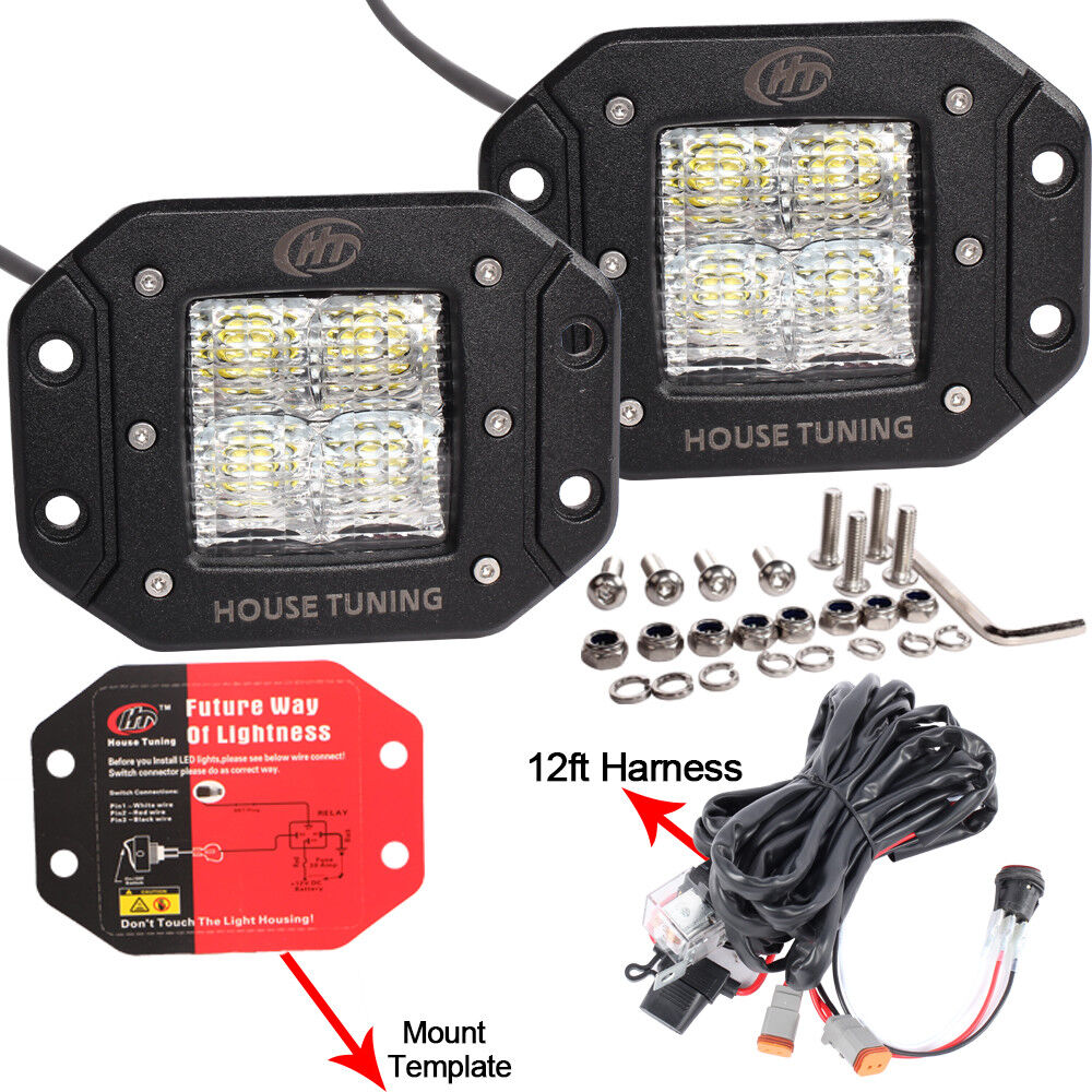 hight resolution of details about house tuning led fog light wiring harness kit 20w dc 12v flood beam for off road