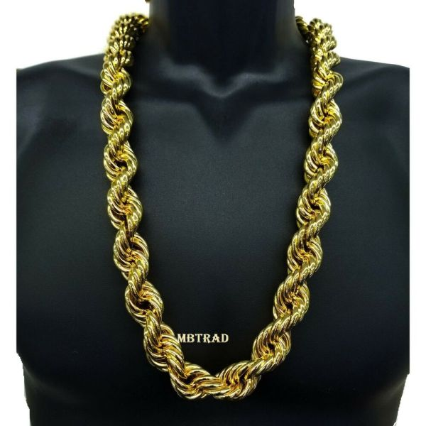 14k Gold Plated Necklace Rope Chain 30