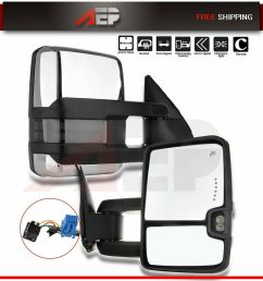 details about fit 03 06 chevy silverado 1500 3500 pair chrome power heated signal tow mirrors [ 1000 x 1000 Pixel ]