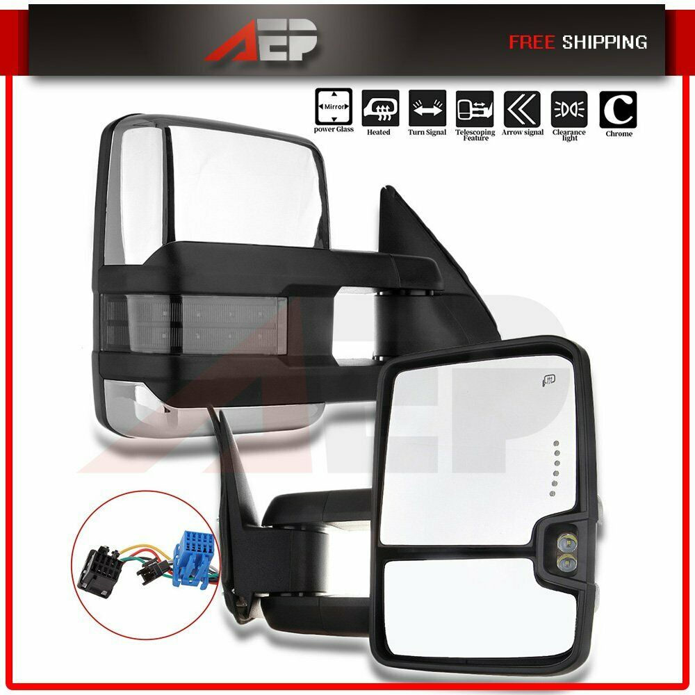 medium resolution of details about fit 03 06 chevy silverado 1500 3500 pair chrome power heated signal tow mirrors