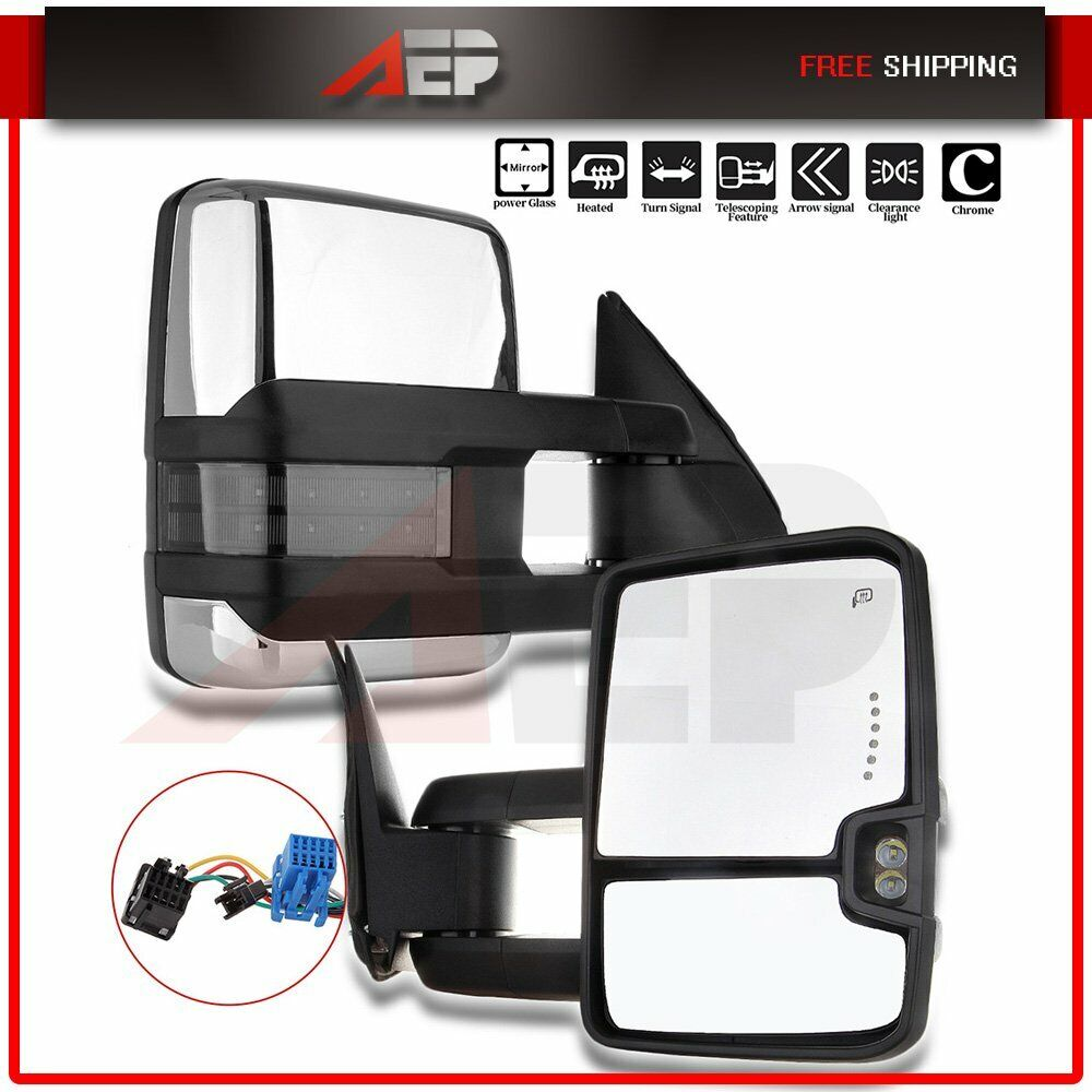 hight resolution of details about fit 03 06 chevy silverado 1500 3500 pair chrome power heated signal tow mirrors