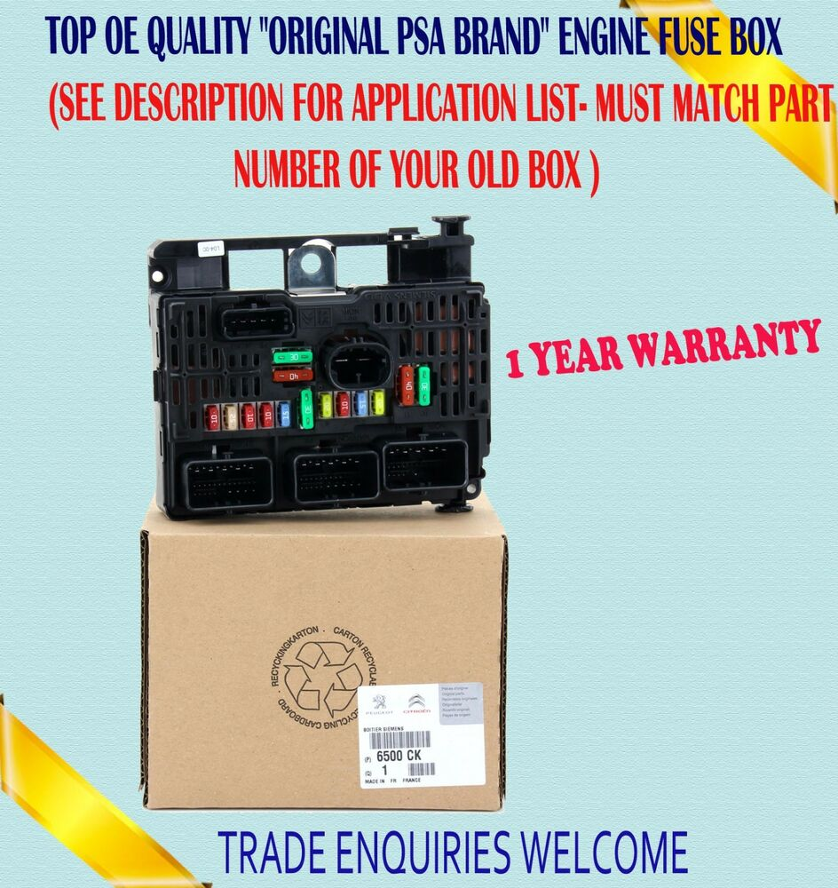 hight resolution of fits peugeot 206 307 607 807 expert central electronic control engine fuse box ebay