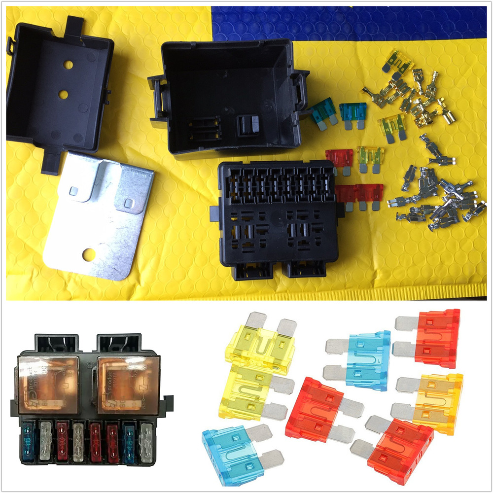 hight resolution of details about 12v 2way circuit car auto relay blade fuse box holder kits black plastic sturdy