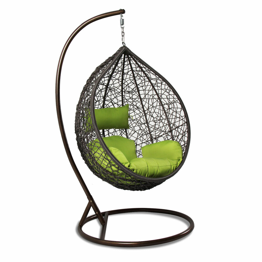 Hanging Chair Outdoor Hanging Hammock Proch Swing Chair Outdoor Egg Chair Green Cushion New 736561100780 Ebay