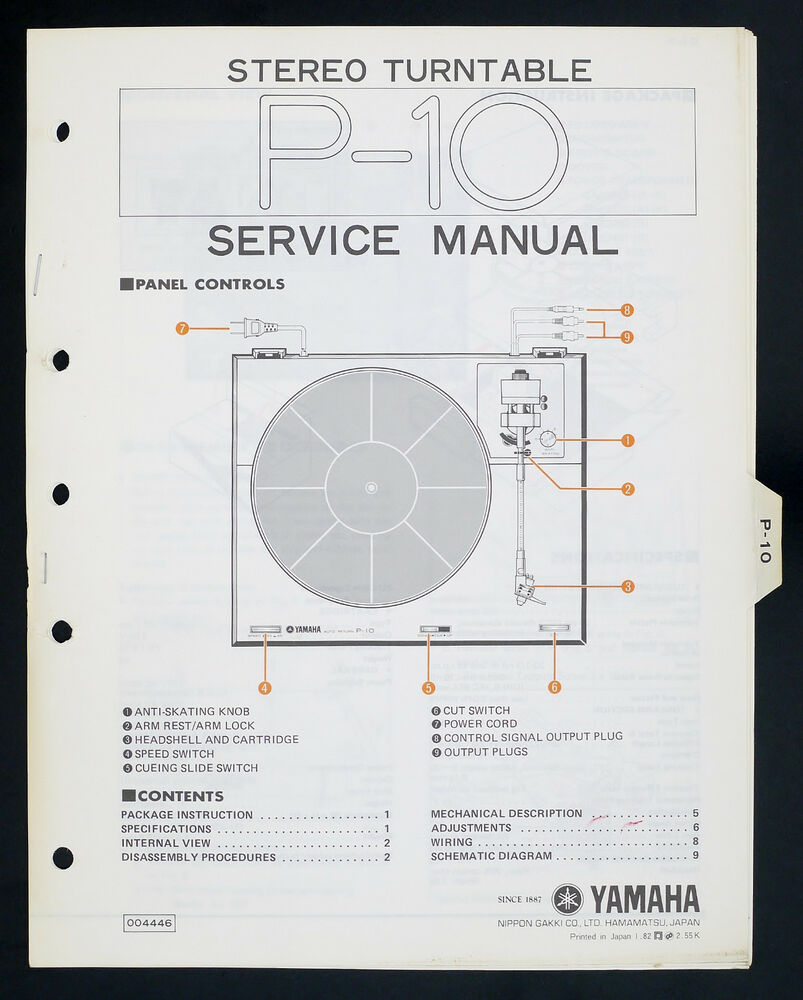hight resolution of details about yamaha p 10 original stereo turntable turntable service manual diagram o141