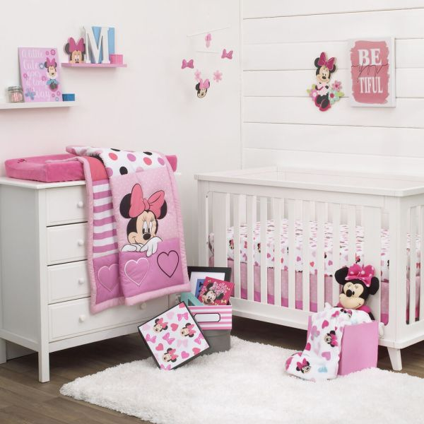 Disney Minnie Mouse Loves Dots 3 Piece Baby Crib Bedding