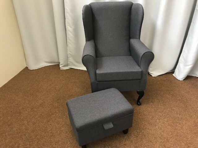 chair and matching stool target baby shower high back wing armchair small foot grey details about sawana fabric uk