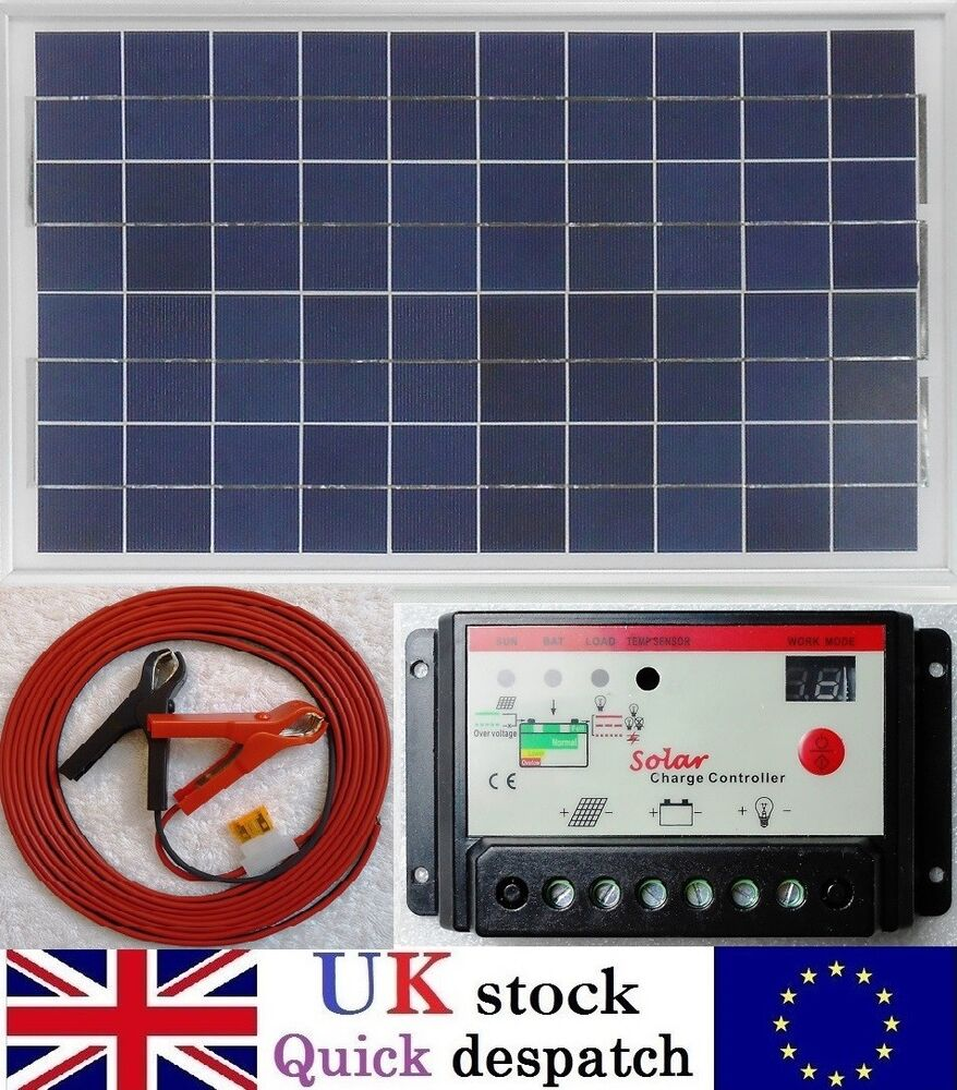 medium resolution of details about 30w pv solar panel 10a pwm charger controller 6m cable clips fuse 12v battery