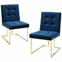 Navy Blue Dining Chairs Set Of 2 Dressing Table Chair Evan Velvet Armless Chrome Details About Frame