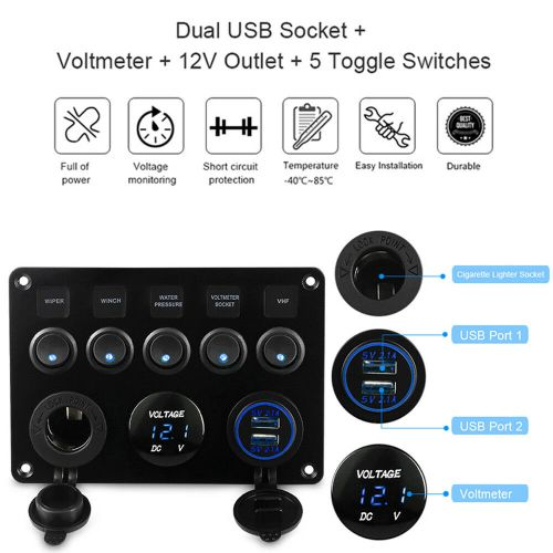 small resolution of details about 12v 24v inline fuse box led rocker switch panel 2 usb charger socket truck boat