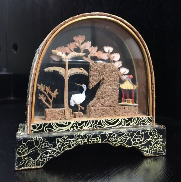"""Vintage 3.5"""" Chinese Cork Carving Art Display With Trees"""