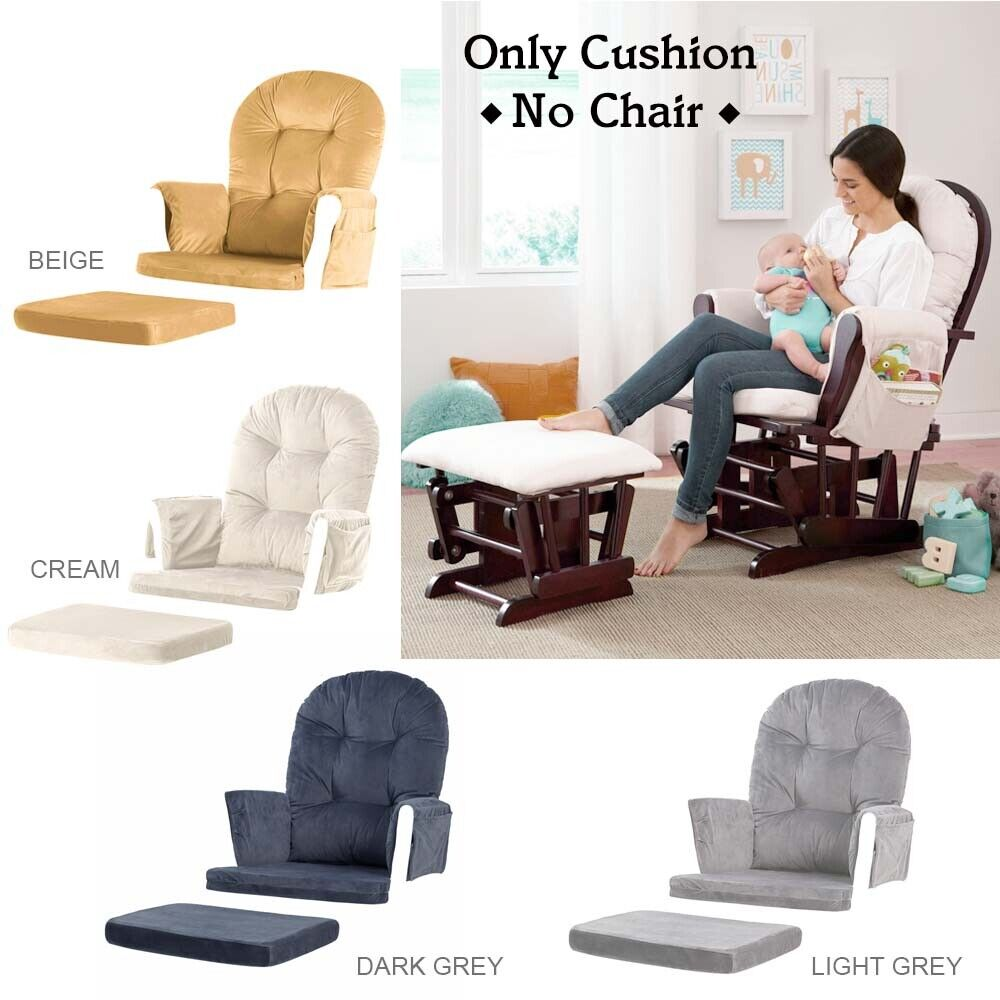 Cushions For Glider Chairs Velvet Cushion For Glider Ottoman Removable Nursery Baby Mother Relax Rocker Ebay