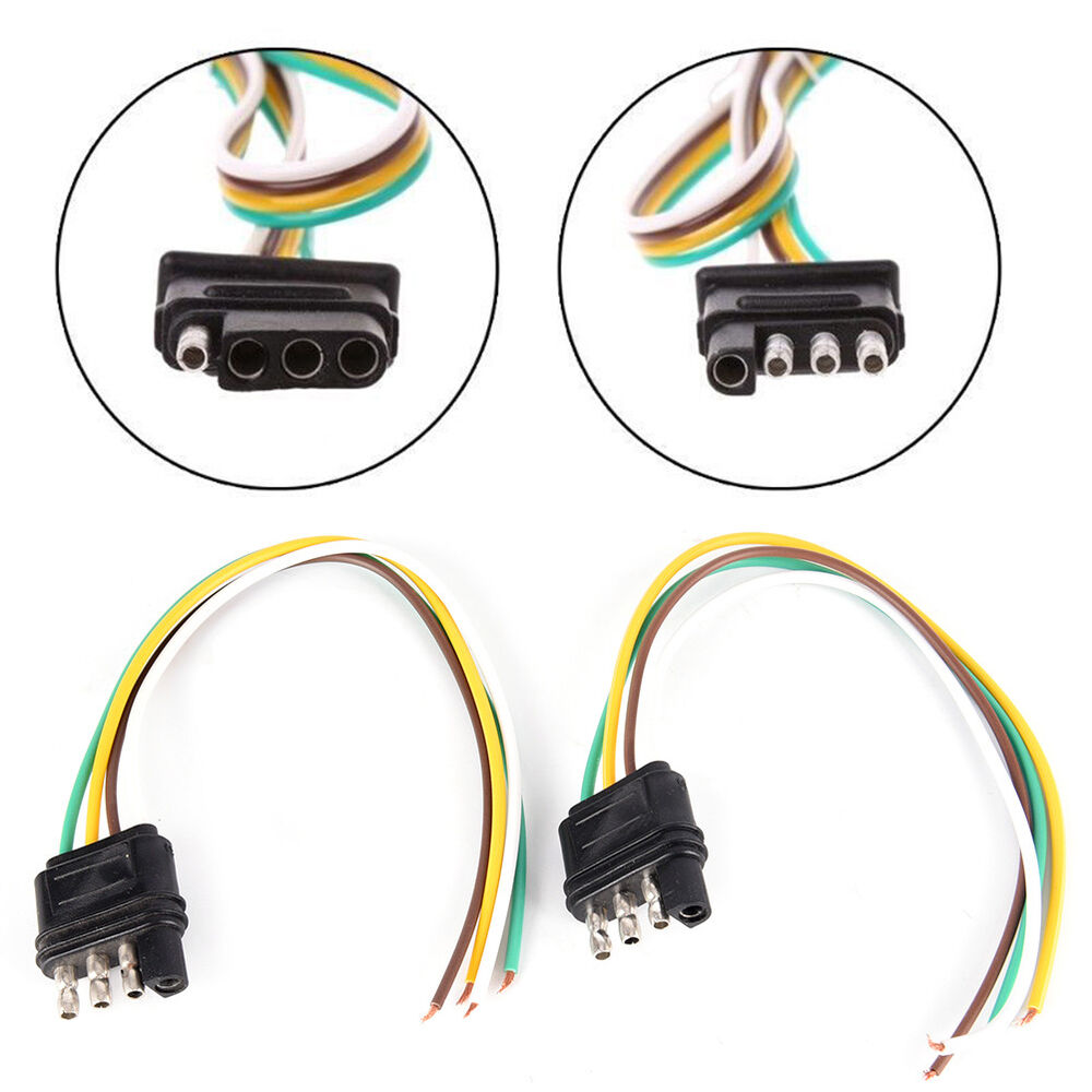 hight resolution of details about 2trailer light wiring harness extension 4 pin plug 18 awg flat wire connector ld